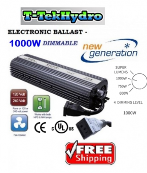 T-TekHydro ELECTRONIC DIMMABLE 1000W Ballast 120-240V - Fan Cooled