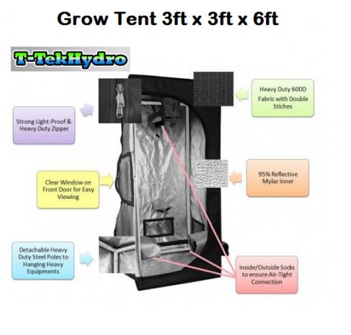 T Tekhydro Grow Tent 3ft X 3ft X 6ft Super Deals Hydroponic