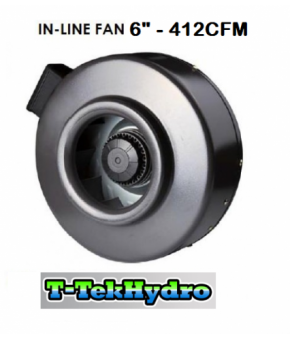 "T-TekHydro IN-LINE FAN 6"" 412CFM"