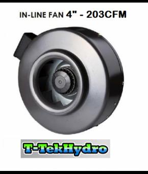 """T-TekHydro IN-LINE FAN 4"""" 203CFM"""