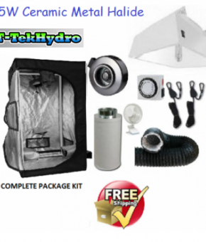 T-TekHydro GROW TENT 4ft x 4ft x 6 1/2ft - 315W CERAMIC METAL HALIDE GROW LIGHT FIXTURE- Fan-Filter Complete Kit - FREE SHIPPING****